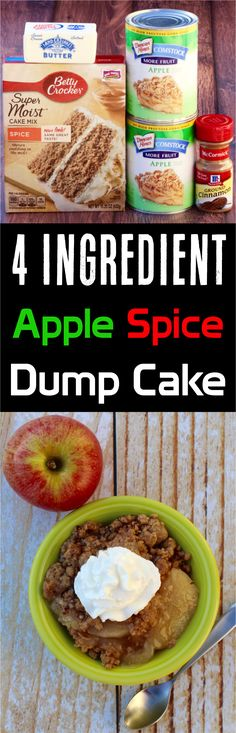 On the hunt for the perfect Fall dessert? This Apple Spice Dump Cake Recipe is easy to make and SO delicious! It's the perfect end to tonight's dinner!