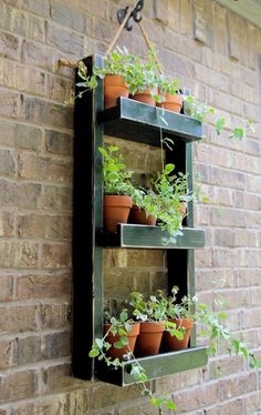 Do you want to grow herbs all year long? You can do it in your garden using hanging garden. Hanging garden is essential in a home, from supply when need herbs for cooking to beautifies your home. All of that can be achieved with hanging garden. Diy Hanging Planter, Hanging Herbs, Wood Planters, Garden Planters, Planter Ideas, Planter Boxes, Cheap Planters, Garden Boxes, Succulent Planters