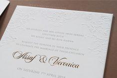 vinas invitation. australian wedding. pure white. blind emboss. emboss invitation. custom invitation. wedding invitation. simple invitation.  any question pls visit www.vinasinvitation.com. courtesy of Assaf & Veronica