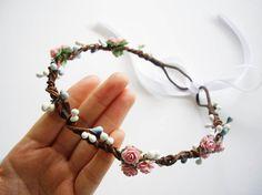 Winter Pink Woodland Hair Wreath, Floral Crown, Flower Crown, Lana del rey, Floral Headband, Flower Headband -Dusty Pink and Purple $28