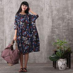 Women summer short sleeve floral printing loose pockets linen dress