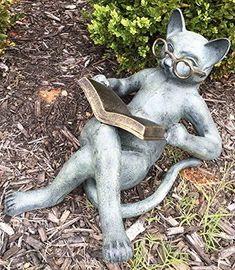 Outdoor Garden Patio Bookworm Feline Cat With Glasses Reading Book Tanning Under The Sun Statue Lawn Ornament Decor * Details can be found by clicking on the image.