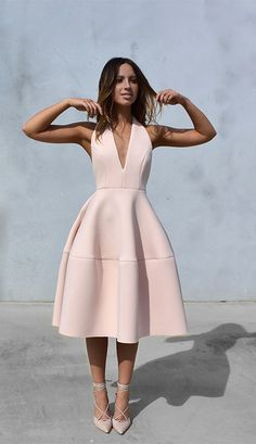 4a1586aab69 cool 6 pastel pink dresses for stylish spring outfits Lace Up Heels