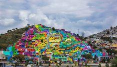 Artistas de Rua transformam bairro Las Palmitas na cidade de Pachuca no México, em mural gigante.