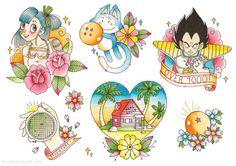 Dragon Ball Z DBZ Tattoo Flash Illustration Drawing Art Print Poster