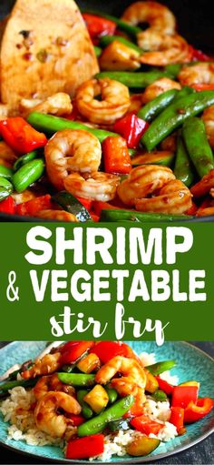 Shrimp & Vegetable Stir Fry Recipe This shrimp stir fry recipe can be whipped up in minutes, is packed with veggies and served on a bed of aromatic jasmine rice. 309 calories and 6 Weight Watchers SP Shrimp Vegetable Stir Fry, Shrimp Stir Fry Easy, Shrimp And Vegetables, Chinese Vegetables, Healthy Vegetables, Veggies, Jasmine Rice Recipes, Shrimp And Rice Recipes, Shrimp Recipes For Dinner