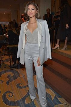 On Sunday, Zendaya and Kerry Washington stepped out together at the ACLU Bill of Rights Dinner in LA, looking like the ultimate pair of BFFs. Zendaya, who Mode Zendaya, Estilo Zendaya, Zendaya Outfits, Zendaya Style, Womens Dress Suits, Suits For Women, Clothes For Women, Classy Outfits, Cute Outfits