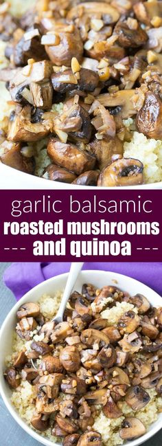 Balsamic Garlic Roasted Mushrooms and Quinoa. An easy holiday side dish recipe, plus ideas for make ahead lunch bowls! | http://www.kristineskitchenblog.com