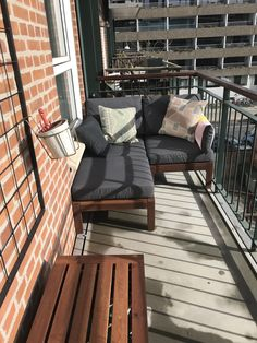 Now with furniture # apple apple - Balkon Terrasse - Balcony Furniture Design Small Balcony Design, Small Balcony Garden, Small Balcony Decor, Outdoor Balcony, Small Balconies, Narrow Balcony, Balcony Decoration, Balcony Ideas, Apartment Balcony Decorating