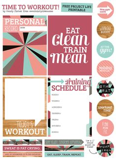 The Dainty Dream, by Mandy Fisher: Project Life Freebie: Time to workout! Printable Stickers, Printable Planner, Planner Stickers, Free Printables, Project Life Freebies, Project Life Cards, Life Planner, Happy Planner, Glam Planning