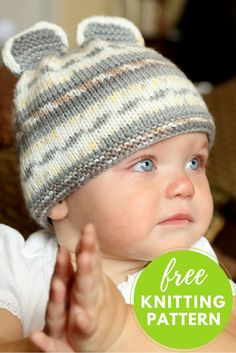 Too cute! We love this adorable little mouse hat for baby. It's a 1-skein knitting project and uses machine washable Plymouth Dreambaby Paintpot DK Yarn.