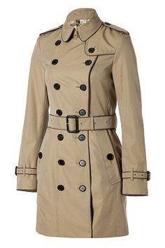 Pale Military Khaki Mid-Length Contrast Trim Cotton Gabardine Courtdale Trench Coat by Burberry