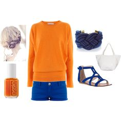 Beach Night - Orange and Blue, created by melinacj on Polyvore