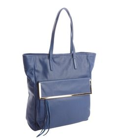 Kelsi Dagger blue leather 'Arielle' snap closure tote/ bluefly.com