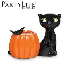 Porte-bougie Chat Halloween. P91686 Pour bougies à réchaud. #partylite #chatnoir #halloween #citrouille