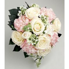 Ivory Roses & Pink Peonies Real Touch Teardrop Wedding Bouquet ❤ liked on Polyvore featuring home, home decor, floral decor, peony bouquet, rose home decor, fake rose bouquet, pink peony bouquet and creme bouquet