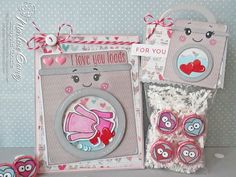 Scrappin Cookie - I Love You Loads Card & Treat Bag.   Uses SVG Cutting Files Chibi Laundry.