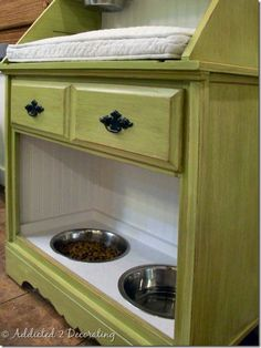 A DIY Pet Station. Coould do this but food in drawer and repuposed directly on top a dog bed low enough for small dog to hop into