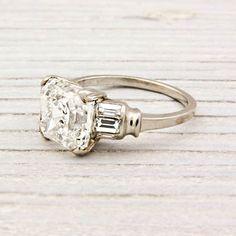 3.09 Carat Asscher Cut Diamond Art Deco Engagement Ring | Erstwhile Jewelry Co.
