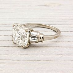 3.09 Carat Asscher Cut Diamond Art Deco Engagement Ring | Erstwhile Jewelry Co.