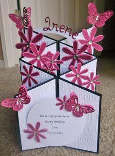 Handmade birthday butterflies cascade card. Cuttlebug birthday. Walk in my garden cricut cartridge. Butterfly punch.