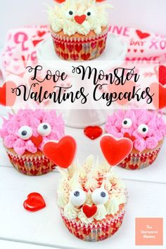 These love monster Valentines cupcakes are sure to scare up some enjoyment from your loved ones. Easy for the kids to make, too! #valentines #cupcakes #valentinescupcakes #kids