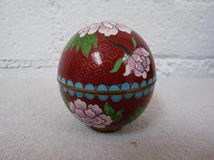Vintage red enamel cloisonne egg