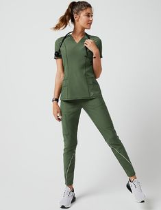 Charge Cargo Drawcord Pant in Army Green - Medical Scrubs by Jaanuu Scrub Suit Design, Dental Scrubs, Nursing Scrubs, Cute Medical Scrubs, Stylish Scrubs, Fashionable Scrubs, Jaanuu Scrubs, Doctor Scrubs, Scrubs Outfit