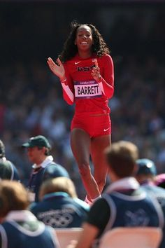 Brigetta Barrett of the United States is happy to be qualified for the  Women's High Jump final - the London 2012 Olympic Games, August 9, 2012 (Getty Images)