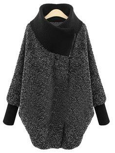 Lose Mantel mit hohem Kragen - grau- German SheIn(Sheinside)