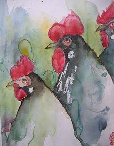 "Saatchi Online Artist: Marie-helene Stokkink; Watercolor, 2006, Painting ""procession"""