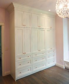Custom Storage Cabinets For A Girls Room. Pink Accent Handles Make This  Custom Wall Unit Functional Pretty For A Bedroom.