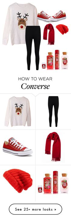 """""""1st day of x-mas (12 days only)"""" by that-fashionista-girl on Polyvore featuring Boohoo, Converse and Hinge"""