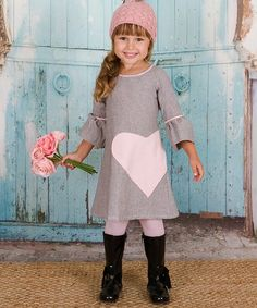 Another great find on #zulily! Baby Pink Heart A-Line Dress - Toddler & Girls #zulilyfinds