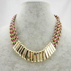 Elegant Rainbow Rope Alloy Gold Necklace Wholesale Necklace