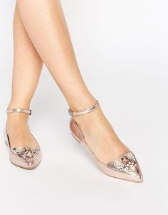 ASOS LAVISH Embellished Pointed Ballets