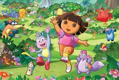 Dora the Explorer. Daughter knows her, the music, Boots the monkey, and more. Pretty cute how she talks like Dora sometimes. My daughter even counts in spanish b/c of this cartoon! Image Birthday Cake, Birthday Cake Toppers, Dora Wallpaper, Bedroom Wallpaper, Disney Wallpaper, Father's Day Memes, Little Backpacks, Dora The Explorer, Childrens Room Decor
