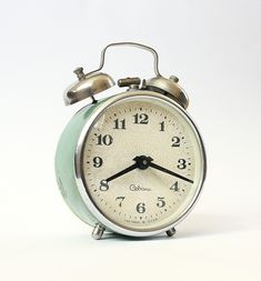Vintage alarm clock Sevani from Armenia, turquoise clock,