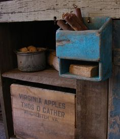 Primitive Blue Candle and Soap Box