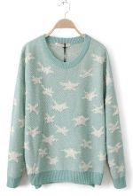 Green Long Sleeve Stars Embroidery Pullovers Sweater $43.23 #Sheinside