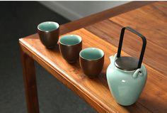 Handmade in Longquan - Set of celadon teaware/ tea set/ 1 teapot/ 4 teacups - by DONGTU Chinese Tea, Chinese Style, Coffee Cups, Tea Cups, Tea Canisters, Teapots And Cups, Tea Caddy, Jar Storage, Raw Materials