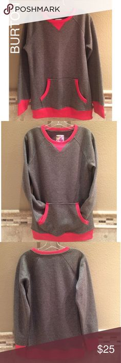BURTON Dryride Gray & Red/Orange Sweatshirt - SZ M BURTON snowboards dryride crew neck gray & reddish orange trim men's sweatshirt. Lined w/fleece. SZ MED. Can be unisex. Very good condition. Preowned, worn only 1-2x if that many. Looks brand new, tho 1 small area on right cuff where top layer of material has a tear/rip, not deep, surface only(pic 7). Designed w/thumb holes 2 keep hands extra warm/ur sleeves in place. I tried my best 2 capture true color of trim. It is a very bright…