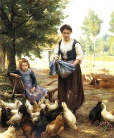 Feeding The Chickens painting - Julien Dupre Feeding The Chickens Art Print