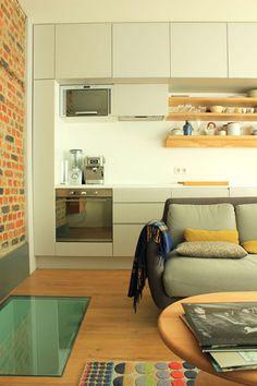 sneak peek: elodie laleous of lab. Studio Kitchen, Living Room Kitchen, Kitchen Design, Small Apartment Design, Small House Design, Hidden Kitchen, Open Plan Kitchen, Building A Basement, Basement Apartment