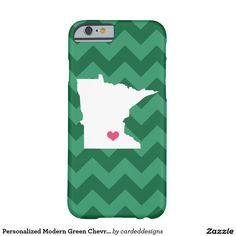Personalized Modern Green Chevron Minnesota Heart Barely There iPhone 6 Case