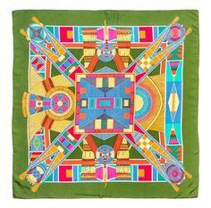"An Hermes 90cm Silk Scarf, 36"" x 36"". ""L'Art Indien des Plaines"" pattern, designed by Sophie Koechlin.  Labeled within the print: Hermes. Estimate: $150- $250 #Design #Fashionista #Resort"