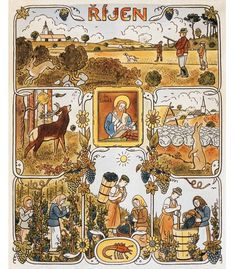 Výsledek obrázku pro josef lada kalendář Seasons Months, Four Seasons, All Souls Day, All Saints Day, Typography Prints, Close To My Heart, Textile Design, Illustrations, Folk Art