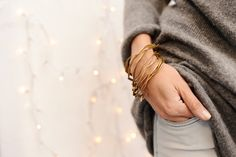 bracelet trio ARANDELAS gold brass