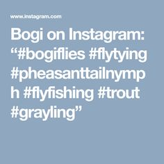 "Bogi on Instagram: ""#bogiflies #flytying #pheasanttailnymph #flyfishing #trout #grayling"""