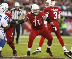 A former BSU Bronco, Arizona Cardinals guard Daryn Colledge (#71) plays against the Indianapolis Colts during the fist quarter of an NFL football game on Sunday, Nov. 24, 2013 in Glendale, AZ.